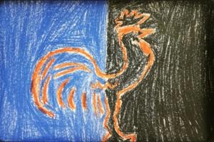 Verleugnung, der Hahn kräht